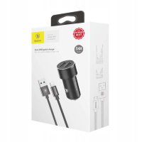 АЗУ + кабель Lightning Baseus Small Screw 3.4A Dual-USB TZXLD-A01 (Black)