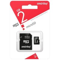 Карта памяти MicroSD  2GB  Smart Buy + SD адаптер оригинал